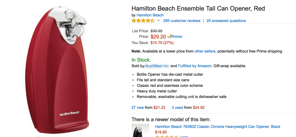 Hamilton Beach Can Opener For example of selling on amazon