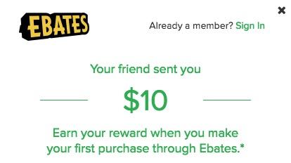 Ebates Refer A Friend $10 Bonus