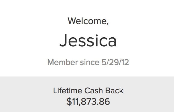 Screenshot of my lifetime cash back on Ebates for $11,873