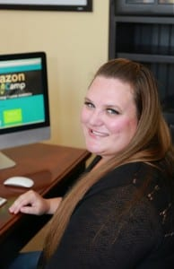 Jessica teaching others how to sell on Amazon from her Home Office