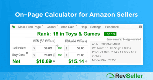 RevSeller adds the FBA Calculator features right onto the Amazon product page you are looking at.