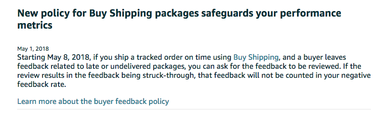 Amazon's policy for Buy Shipping feedback removal