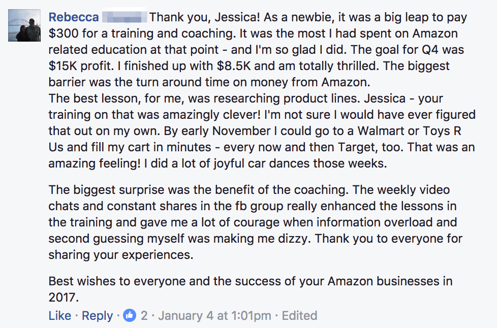 Rebecca Testimonial For Q4 Amazon Seller Coaching Group