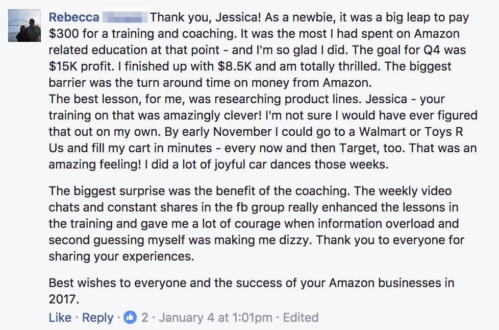 Rebecca Testimonial For Q4 Amazon Seller Coaching Group