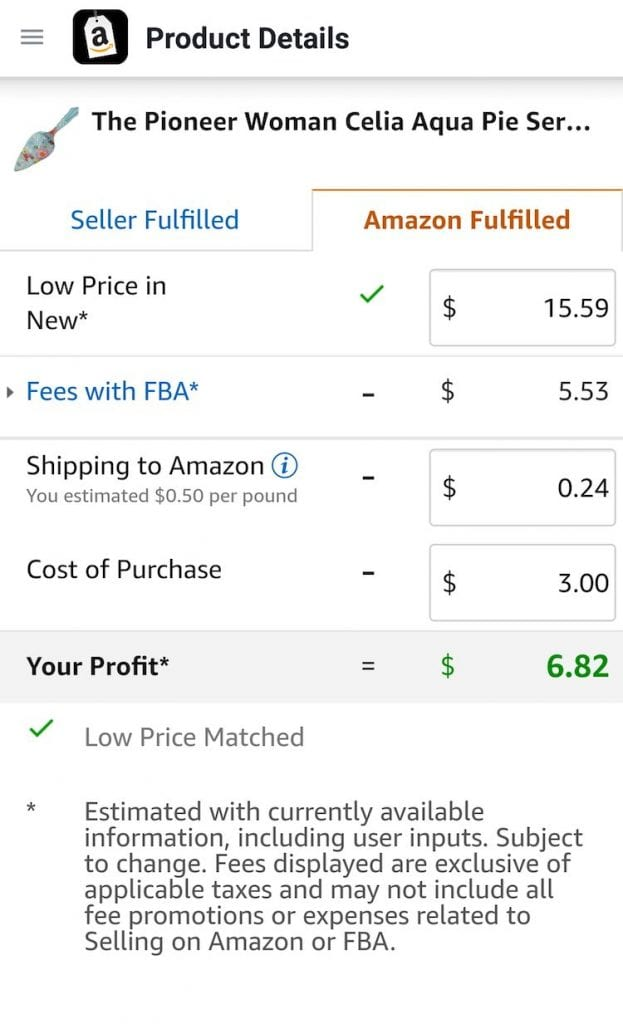 Screen shot of Amazon Seller App showing profit
