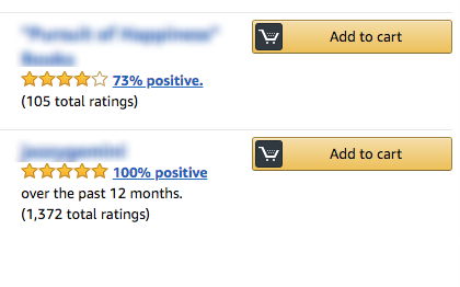 Screenshot of 2 sellers. 1 has 73% feedback and the other has 100%