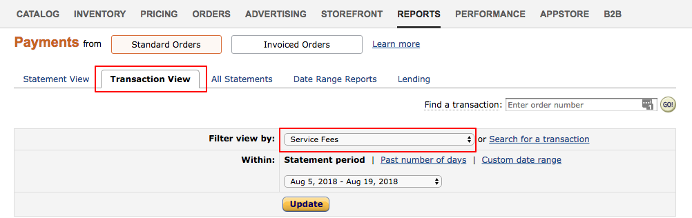 Finding service fees