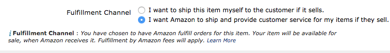Option to select Fulfillment by Amazon