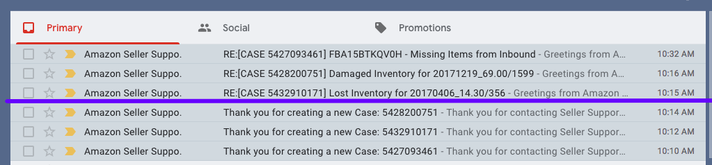 My Gmail inbox showing Amazon cases