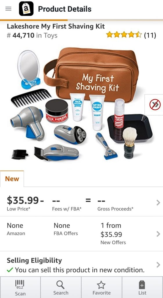 Screenshot from Amazon Selling App showing Hazmat icon