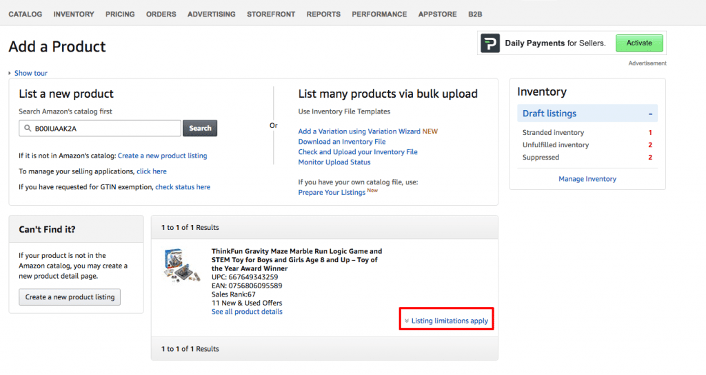 Add a Product Listing Limitations