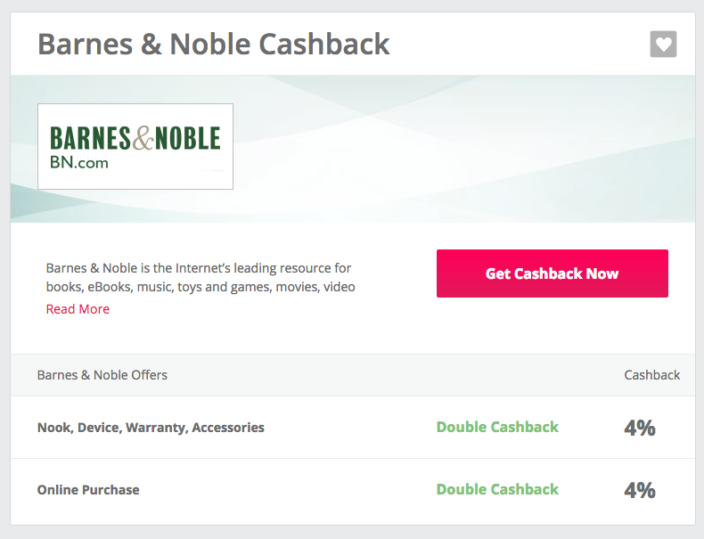 Cashback details for Barnes & Noble on TopCashBack