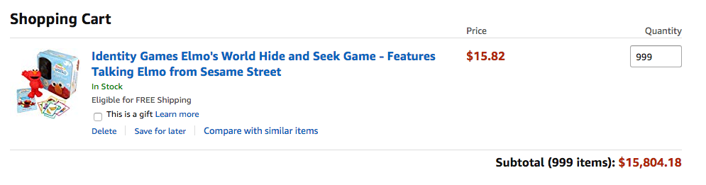 Amazon cart showing 999 inventory available