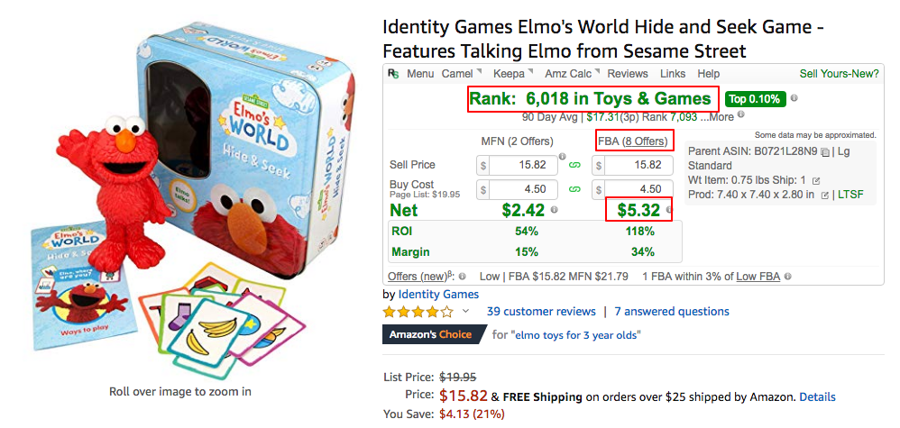Amazon detail page for Elmo game with RevSeller app