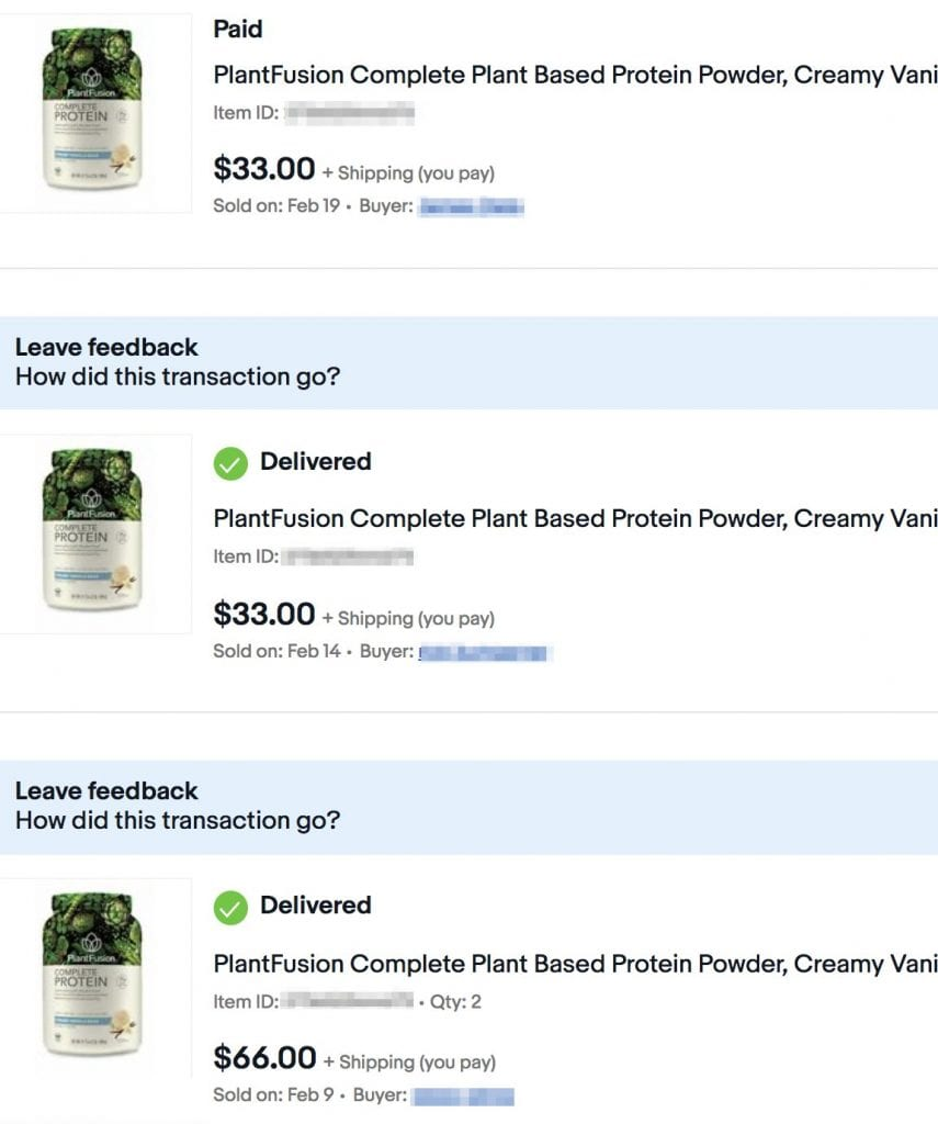 Sold 4 bottles of protein powder on eBay with JoeLister
