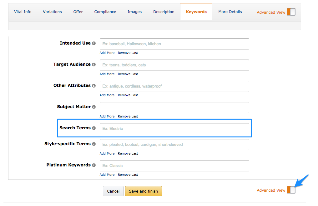 Add keywords in Amazon Seller Central