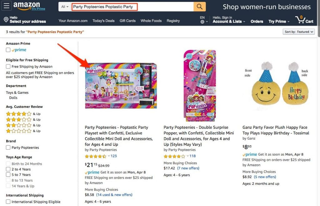 Searching for a product by name on Amazon.com