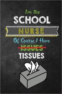 "Amazon KDP Journal cover reads ""I'm a school nurse of course I have issues"""